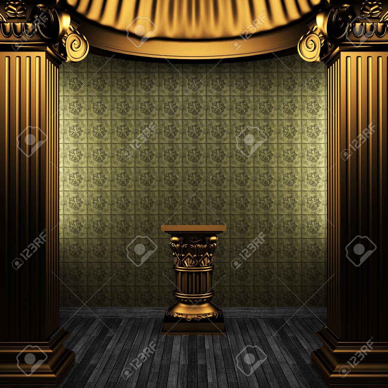 bronze columns, pedestal and tile wall made in 3D Stock Photo - 8499103