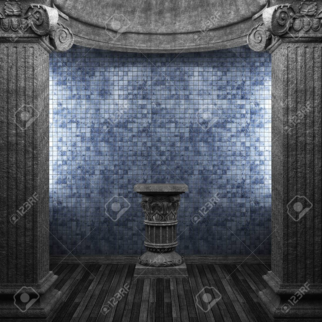 stone columns, pedestal and tile wall Stock Photo - 8502889