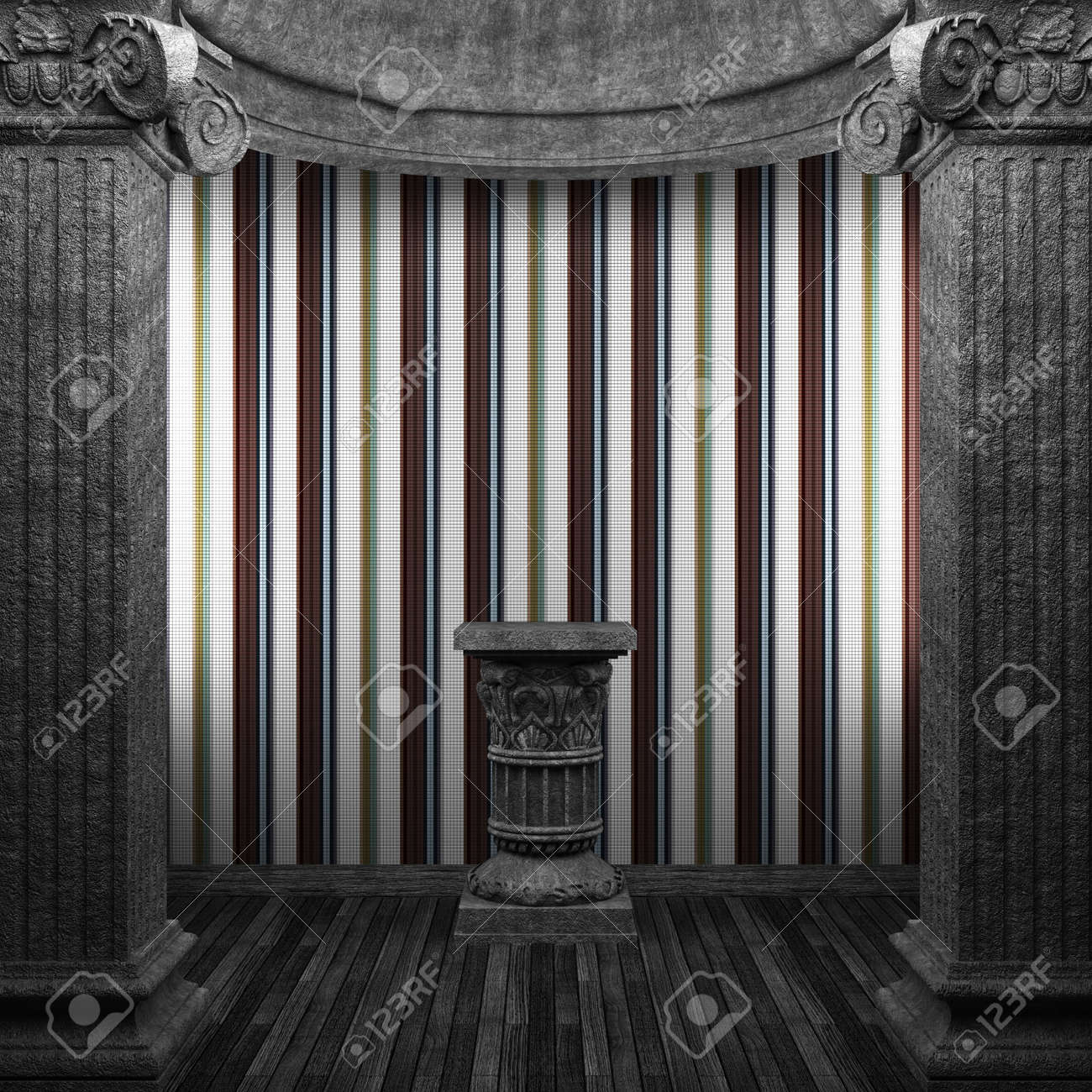 stone columns, pedestal and tile wall Stock Photo - 8502893
