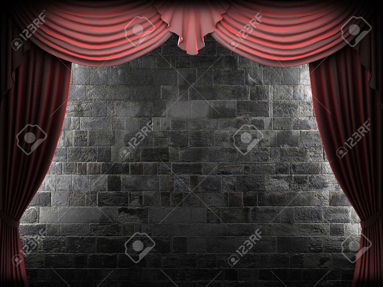 Red velvet curtain and stone wall made in 3d Stock Photo - 8508951