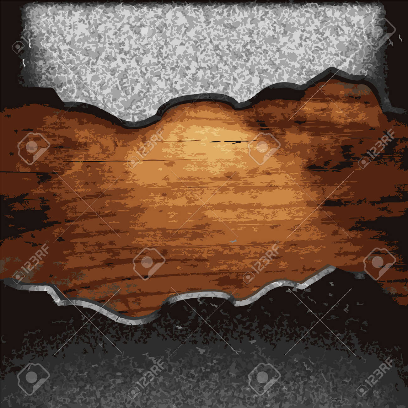 iron plate on wood made in Vector Stock Vector - 8597330