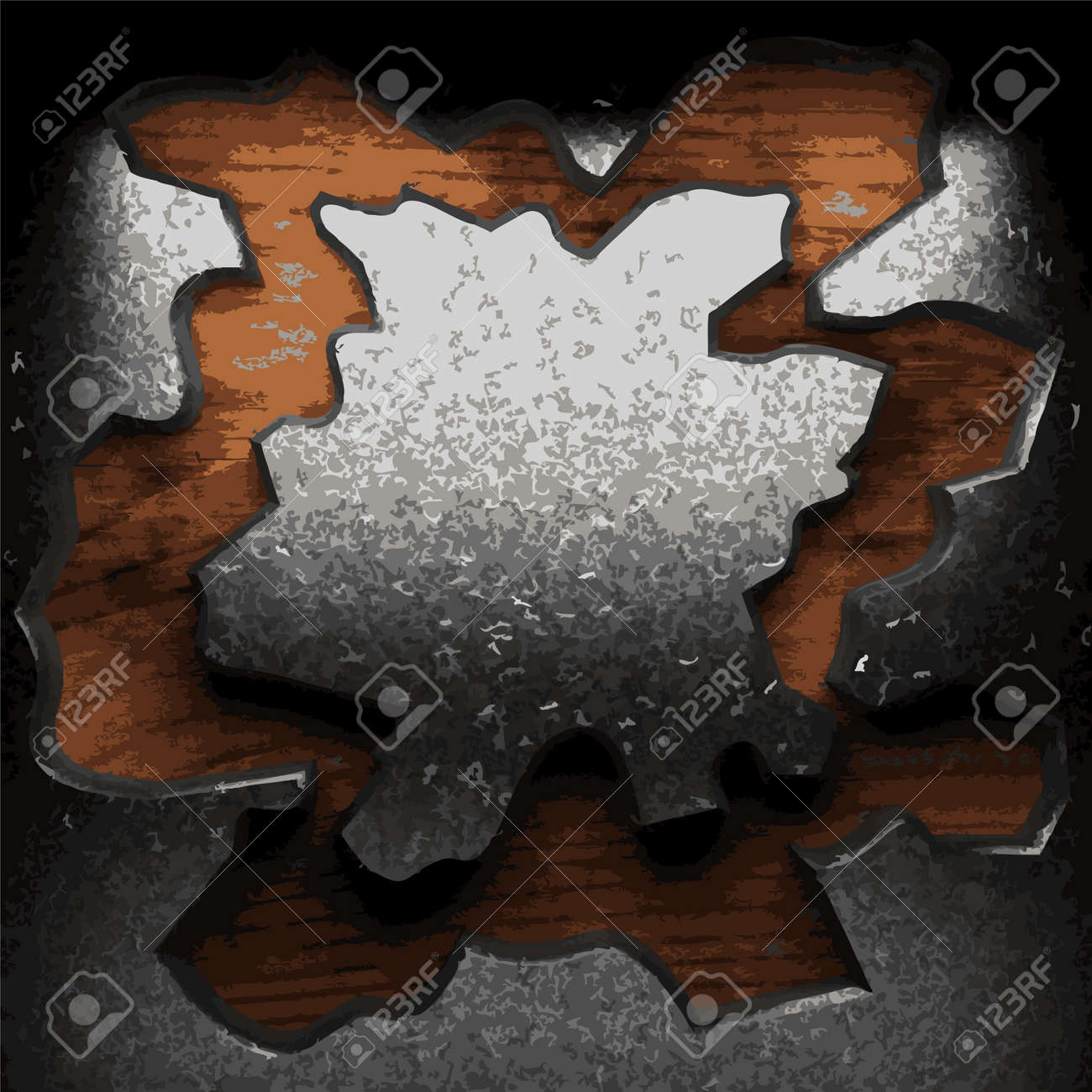 iron plate on wood made in Vector Stock Vector - 8591430