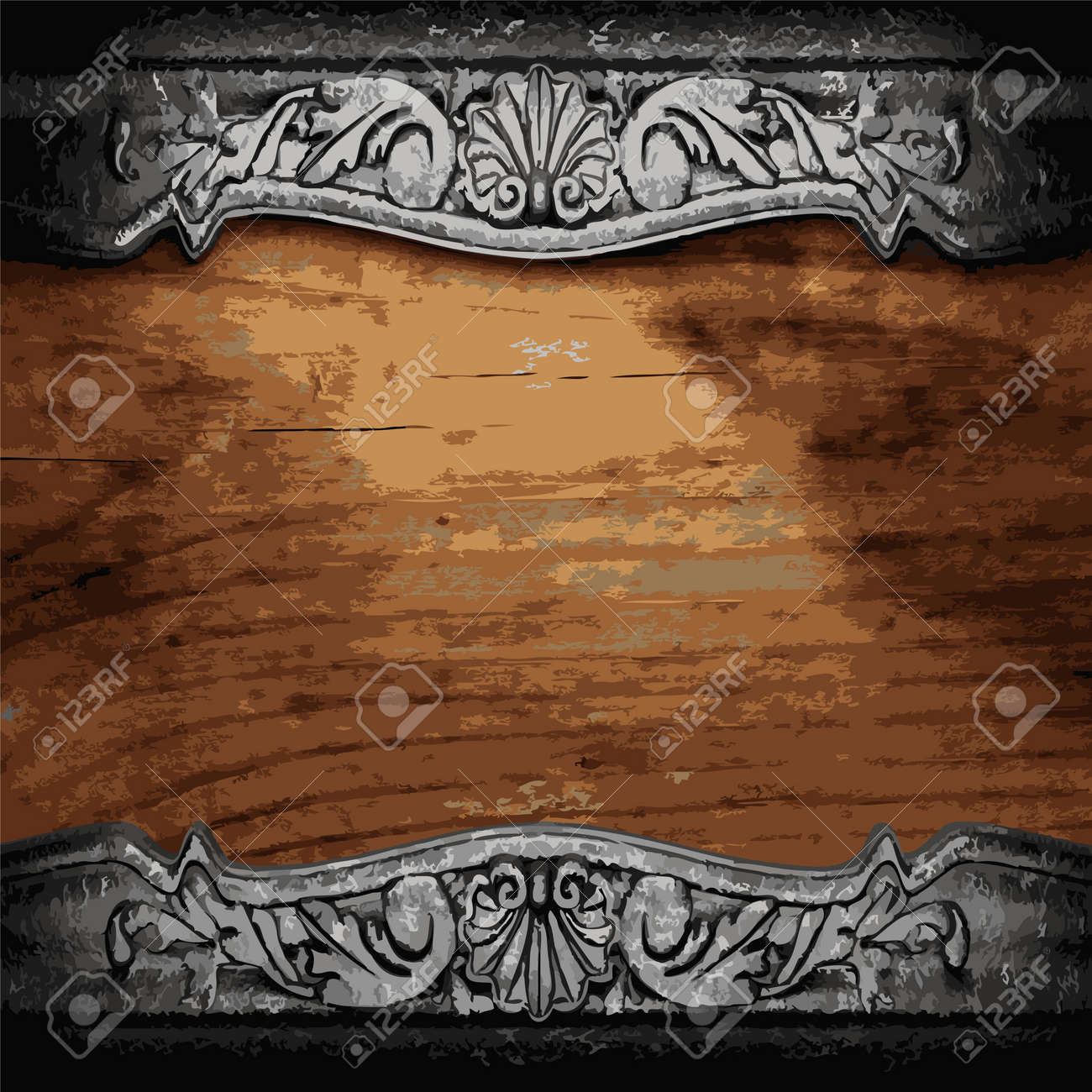 iron ornament on wood made in Vector Stock Vector - 8599740