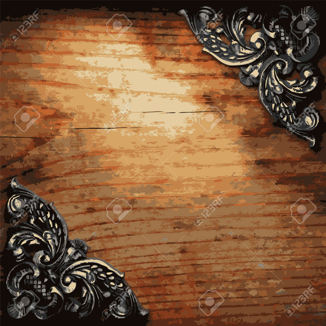 iron ornament on wood made in Vector Stock Vector - 8599745