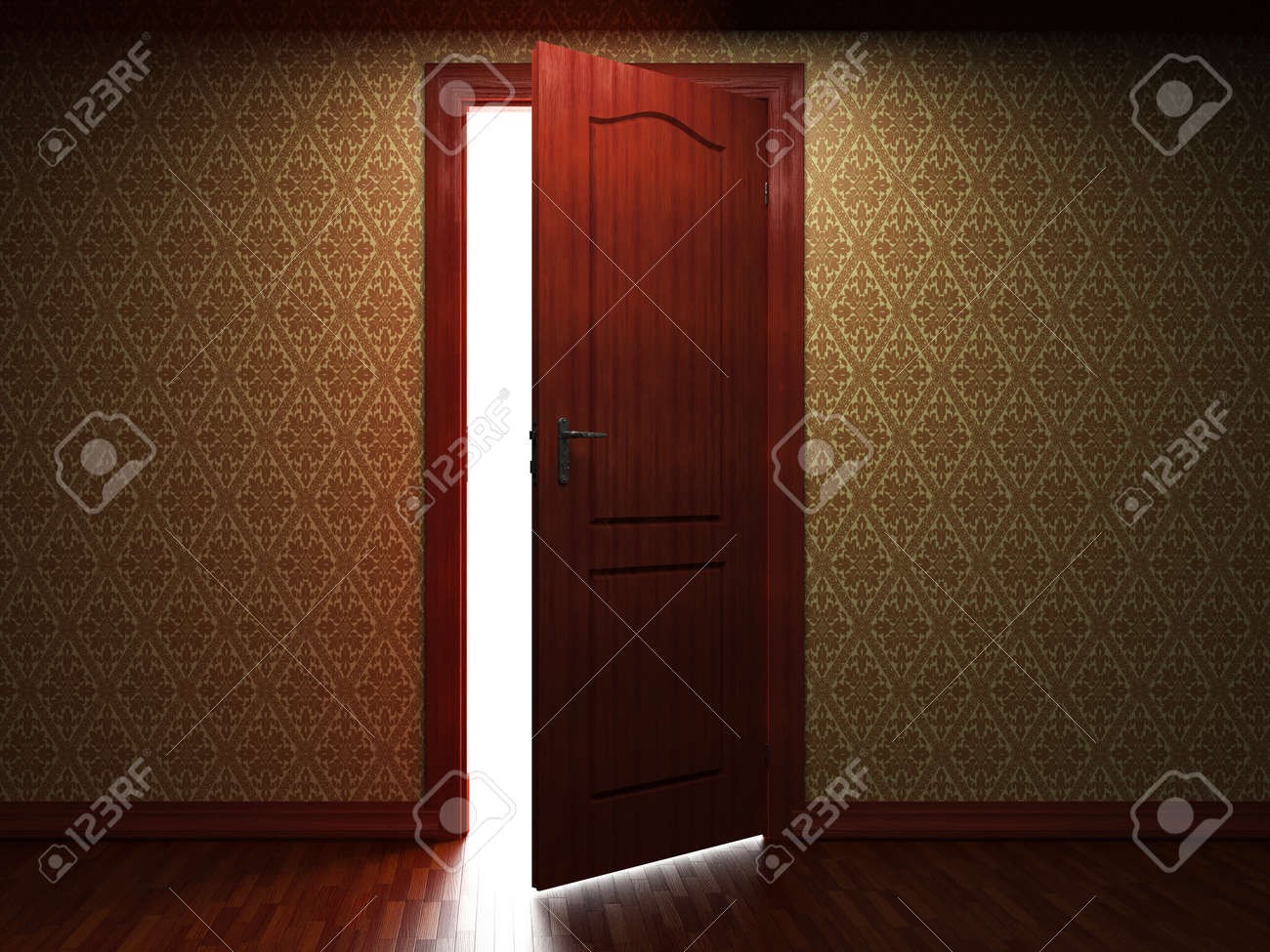 illuminated fabric wallpaper and door made in 3D Stock Photo - 8925305