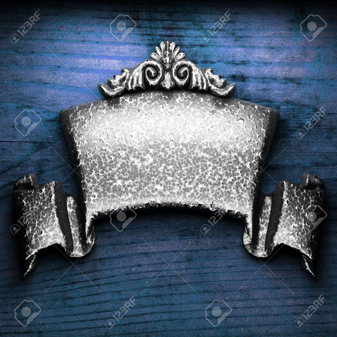 iron ornament on wood made in 3D Stock Photo - 9248216