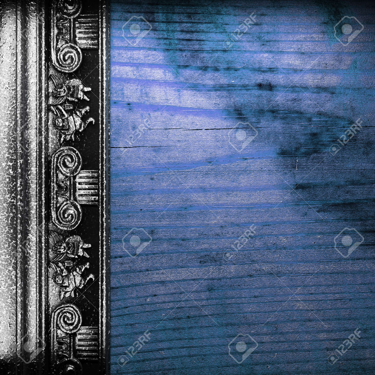 iron ornament on wood made in 3D Stock Photo - 9248229