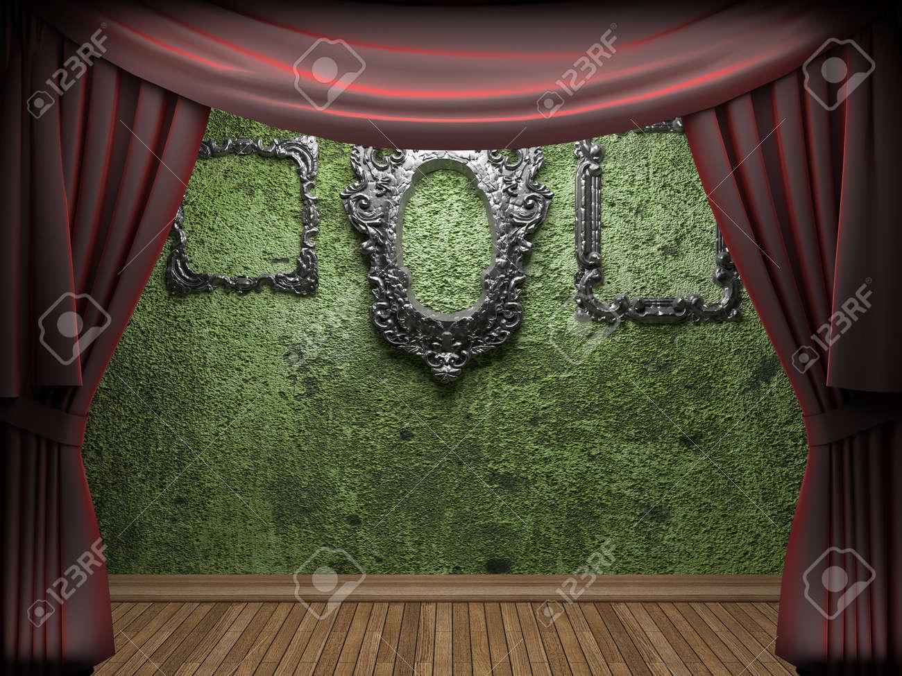 Red velvet curtain opening scene made in 3d Stock Photo - 9358590