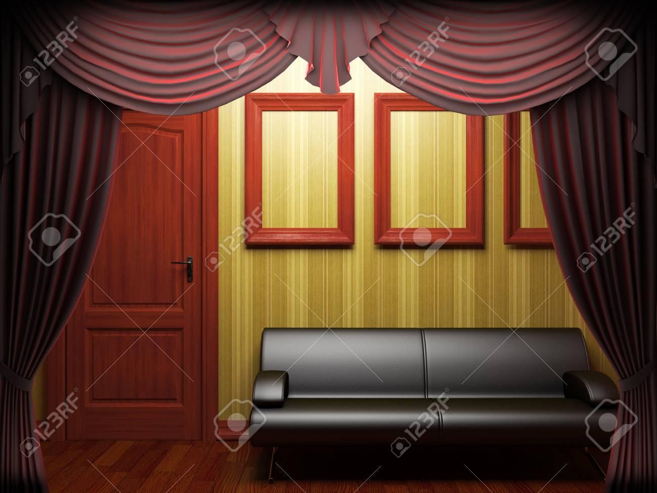 1060e998f Red velvet curtain opening scene made in 3d Stock Photo - 9358335