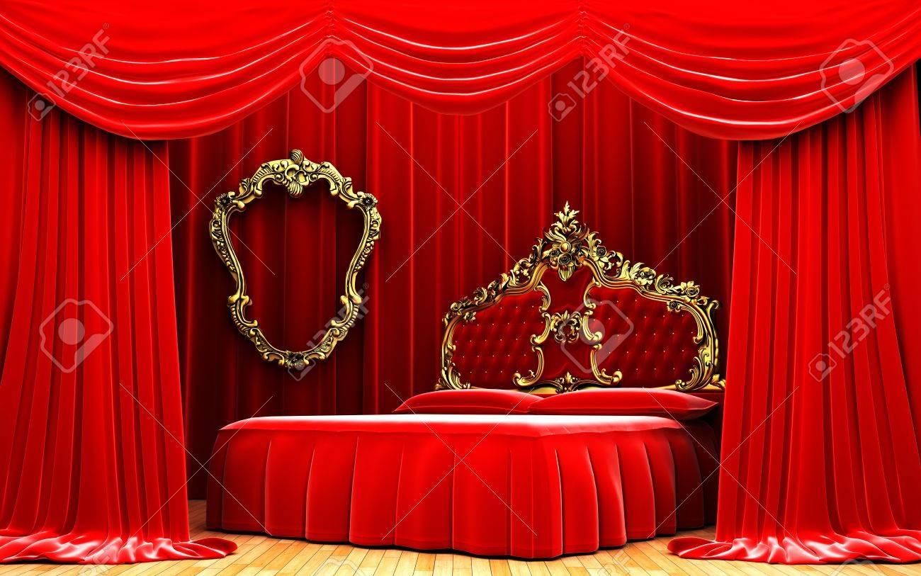 Red Velvet Curtain Opening Scene Made In 3d Stock Photo   10552575