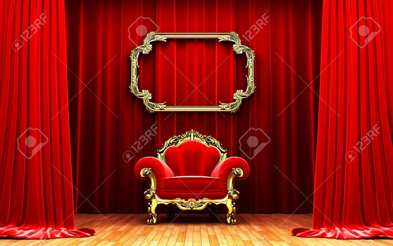 Red velvet curtain opening scene Stock Photo - 10991595