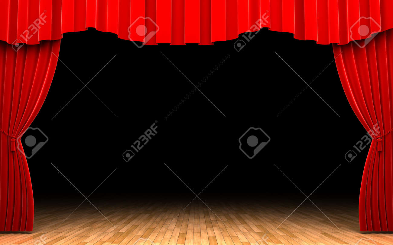 Red stage curtains open - Red Velvet Curtain Opening Scene Stock Photo 11115037