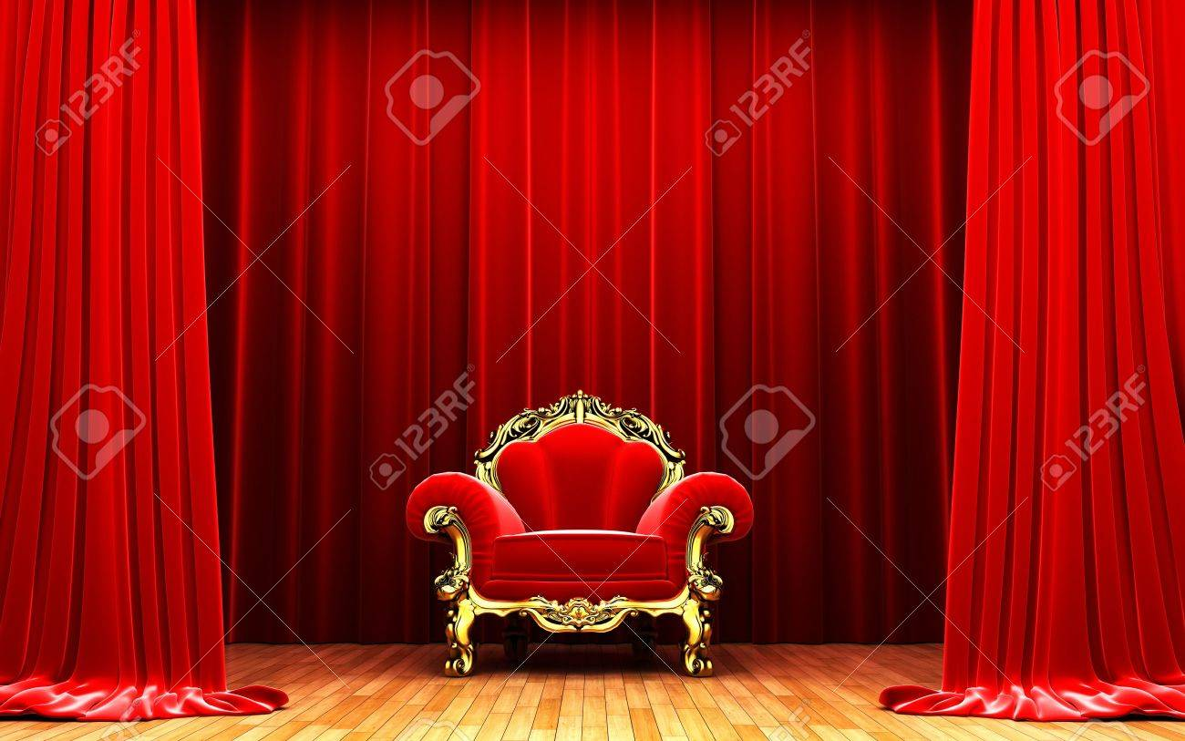 Red velvet curtain opening scene Stock Photo - 11115040