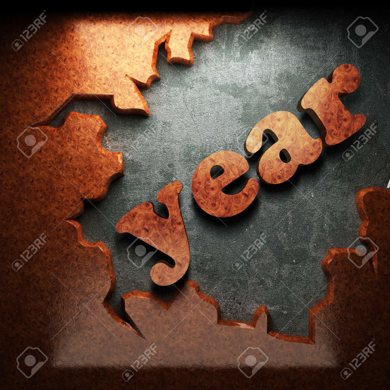 red wood word on concrete Stock Photo - 11216636