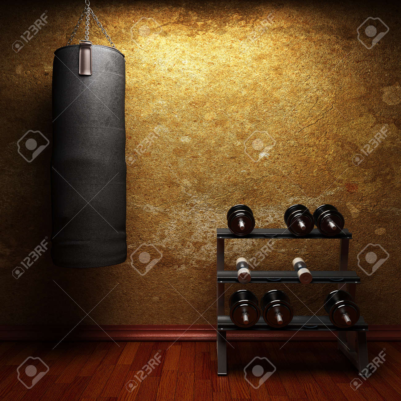 Gym room made in 3d stock photo picture and royalty free image