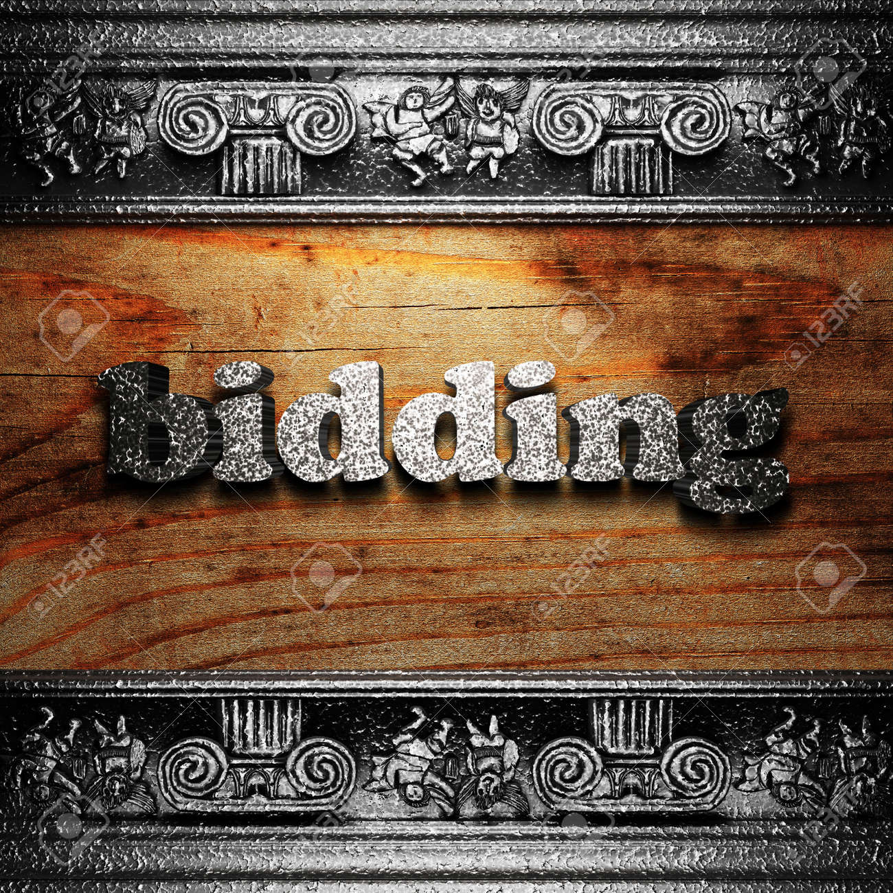 iron word on wood made in 3D Stock Photo - 11665561