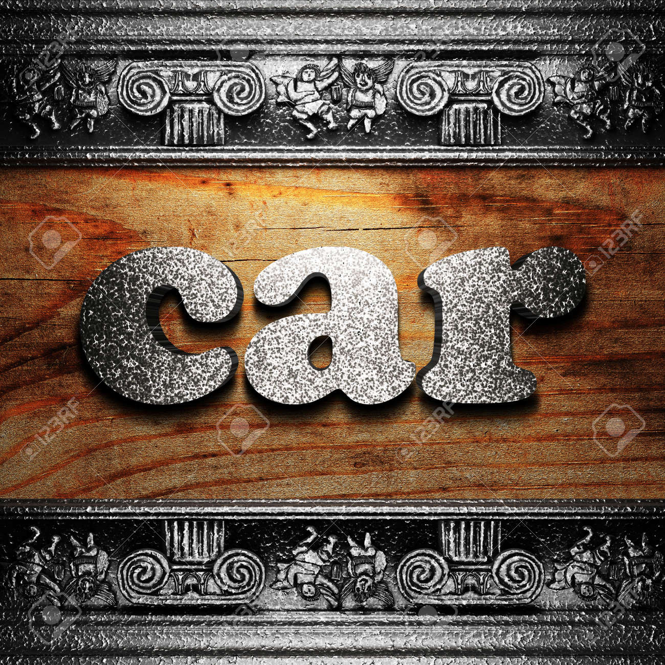 iron word on wood made in 3D Stock Photo - 11662534