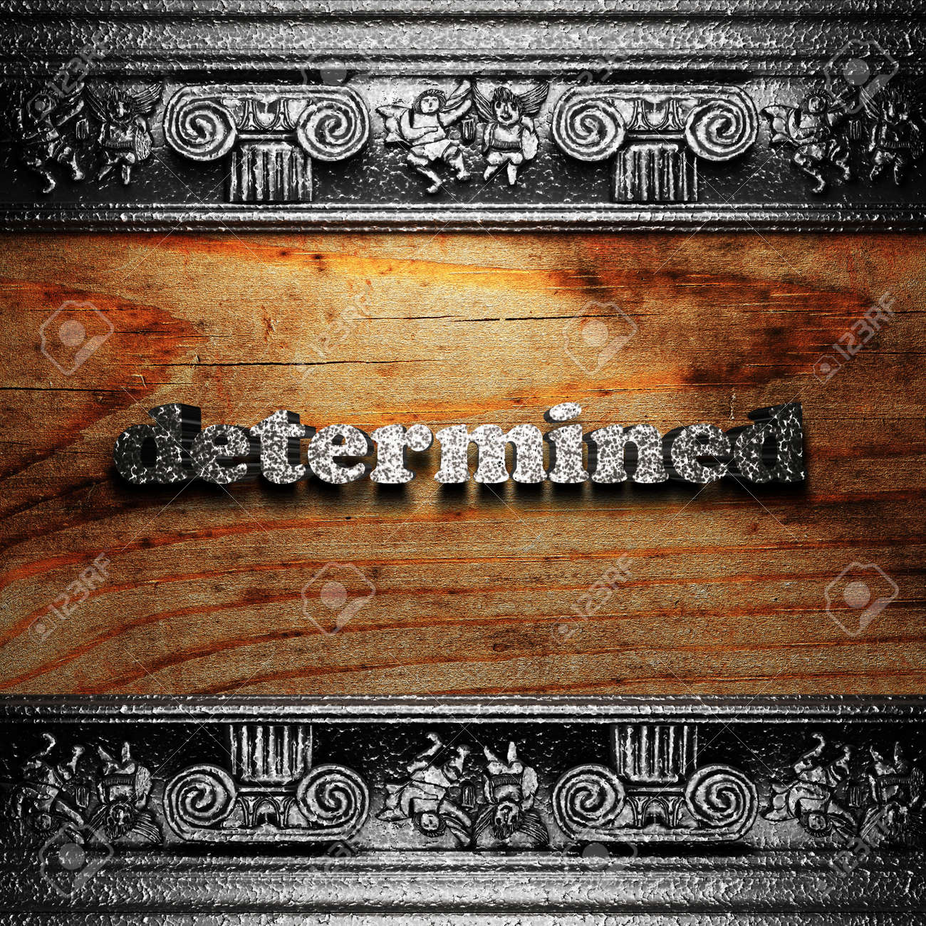 iron word on wood made in 3D Stock Photo - 11672333