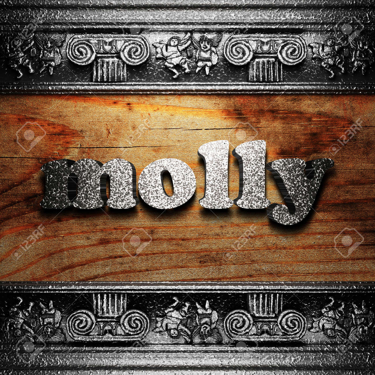 iron word on wood made in 3D Stock Photo - 11695417