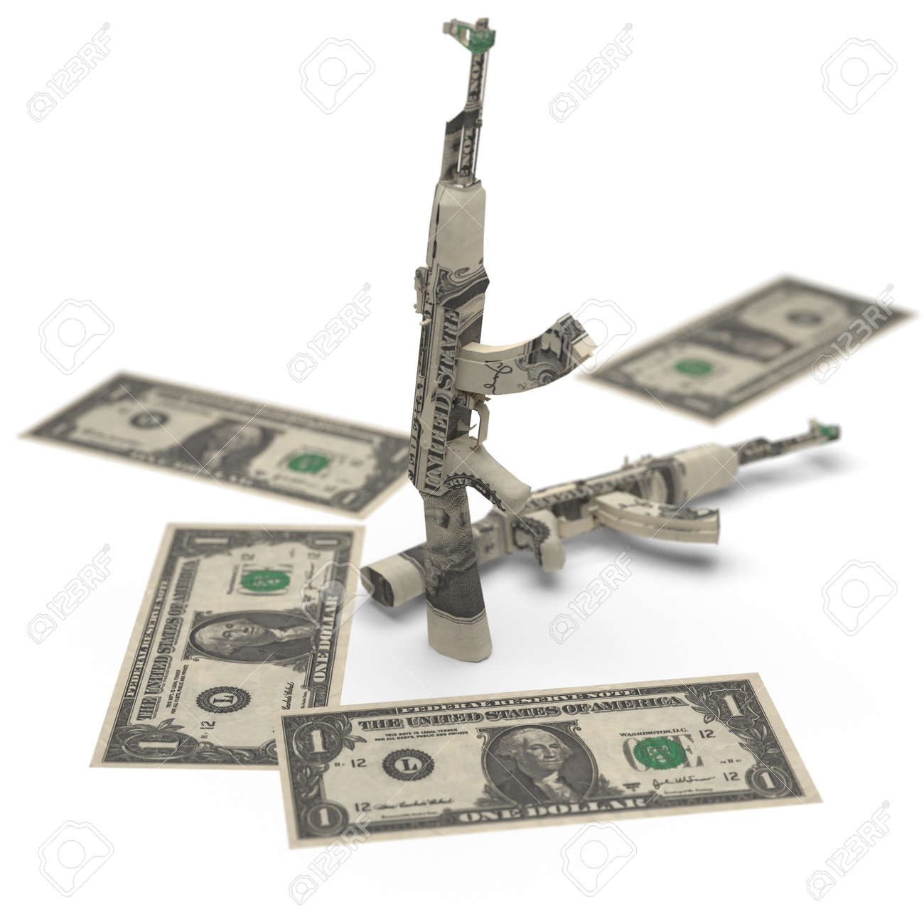 military money origami made in 3D Stock Photo - 12437045
