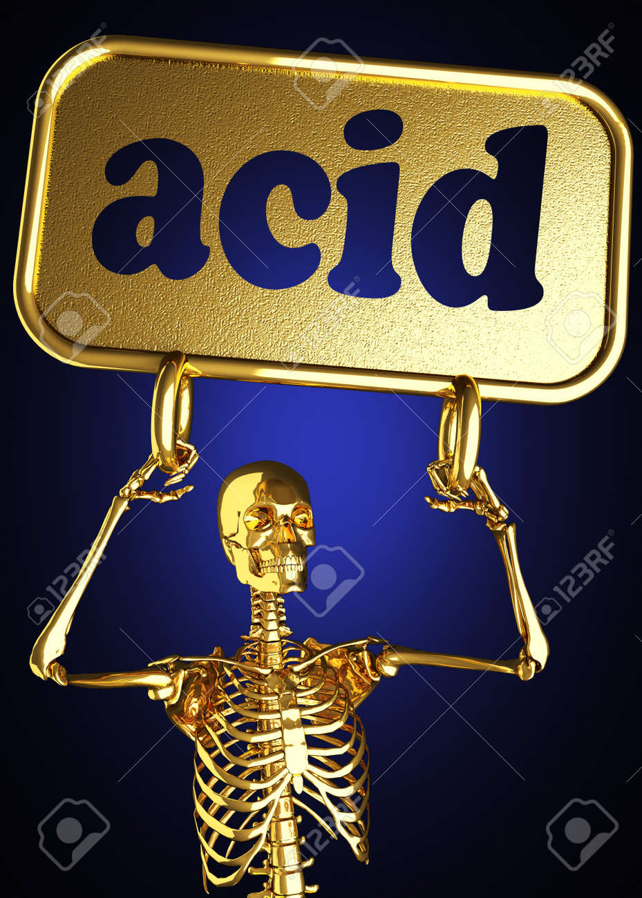 Golden skeleton holding the sign made in 3D Stock Photo - 13388065