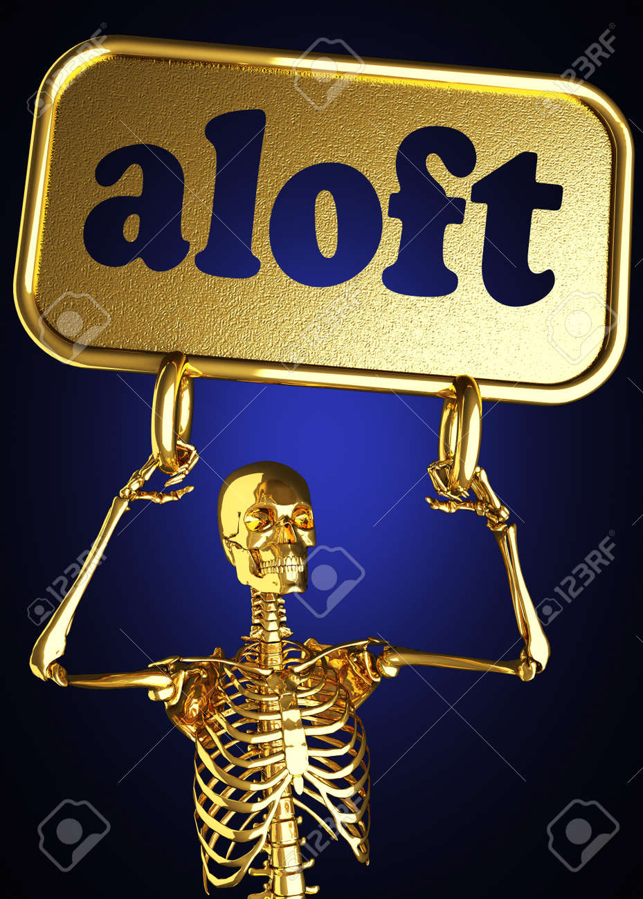 Golden skeleton holding the sign made in 3D Stock Photo - 13388070