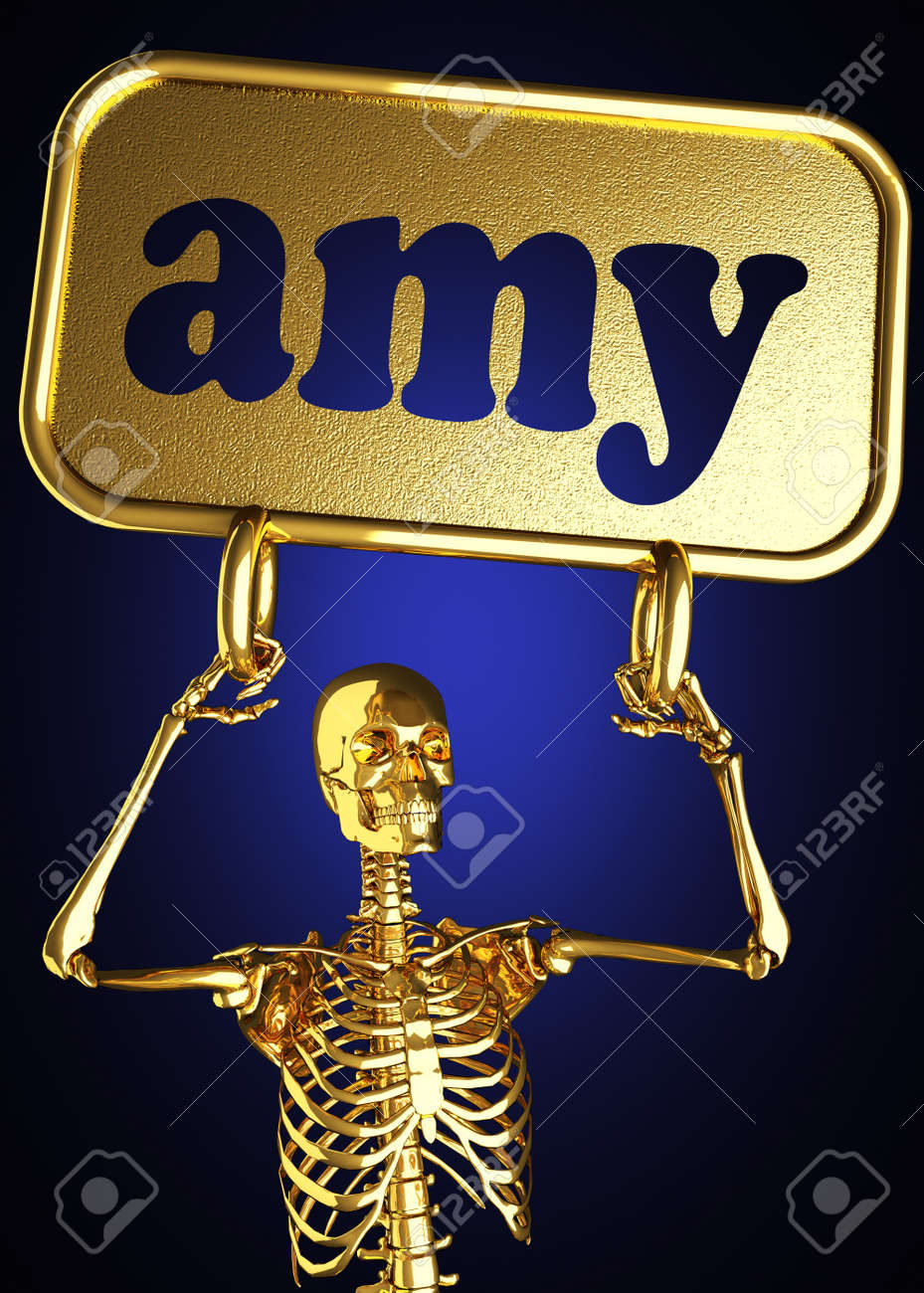 Golden skeleton holding the sign made in 3D Stock Photo - 13388069