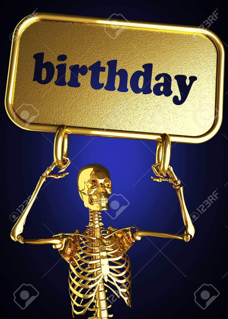 Golden skeleton holding the sign made in 3D Stock Photo - 13390015