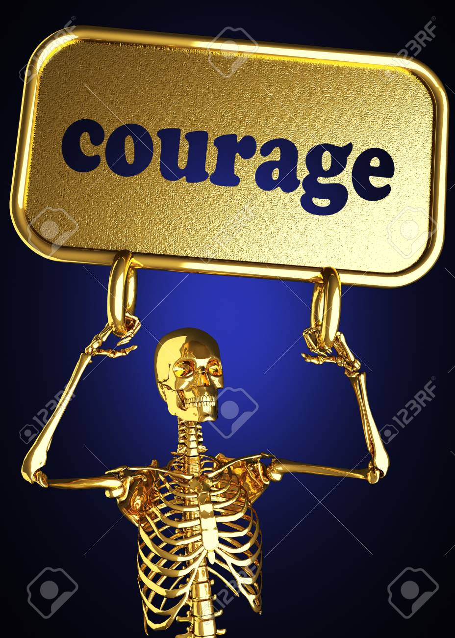 Golden skeleton holding the sign made in 3D Stock Photo - 13390581
