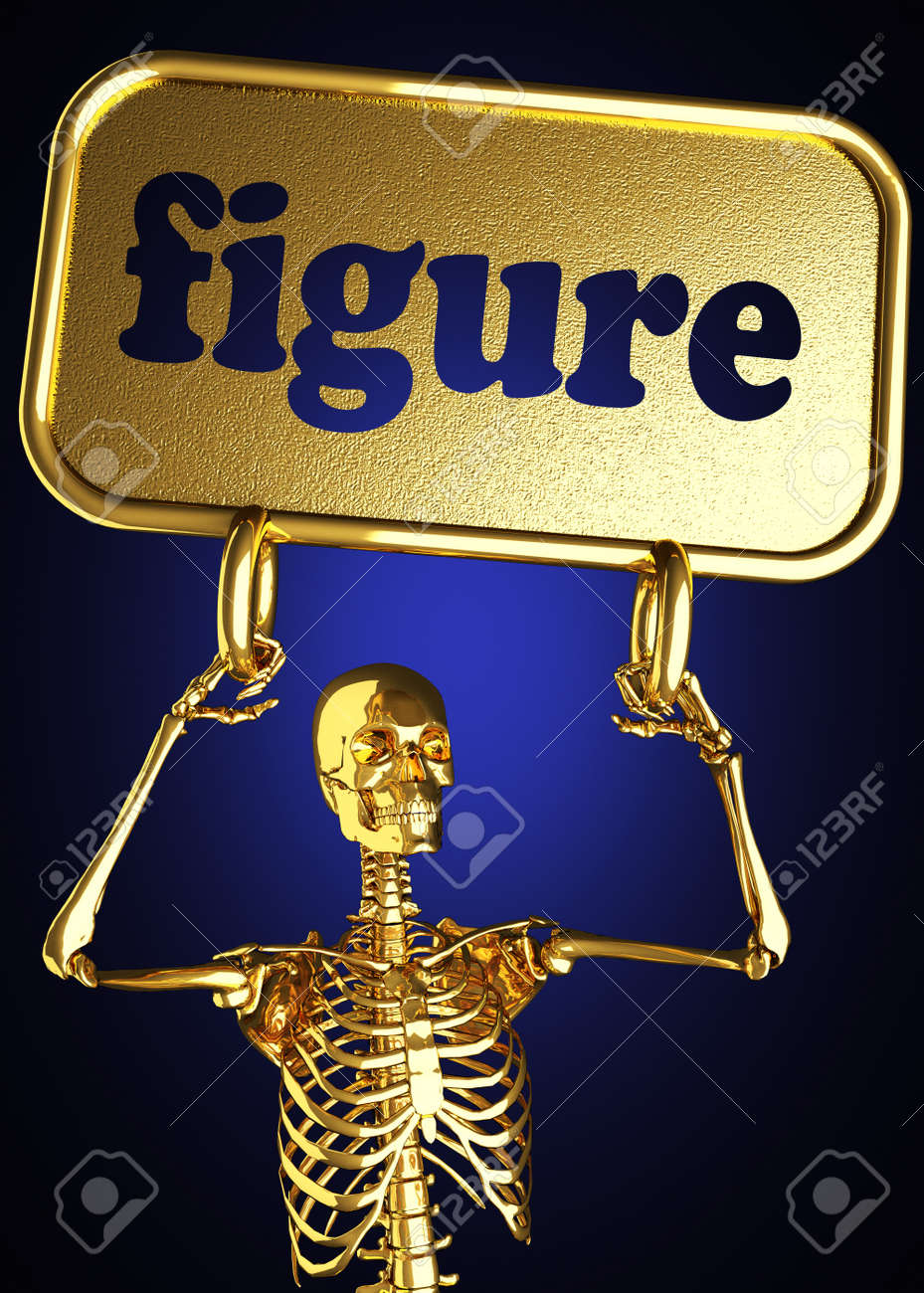Golden skeleton holding the sign made in 3D Stock Photo - 13391969