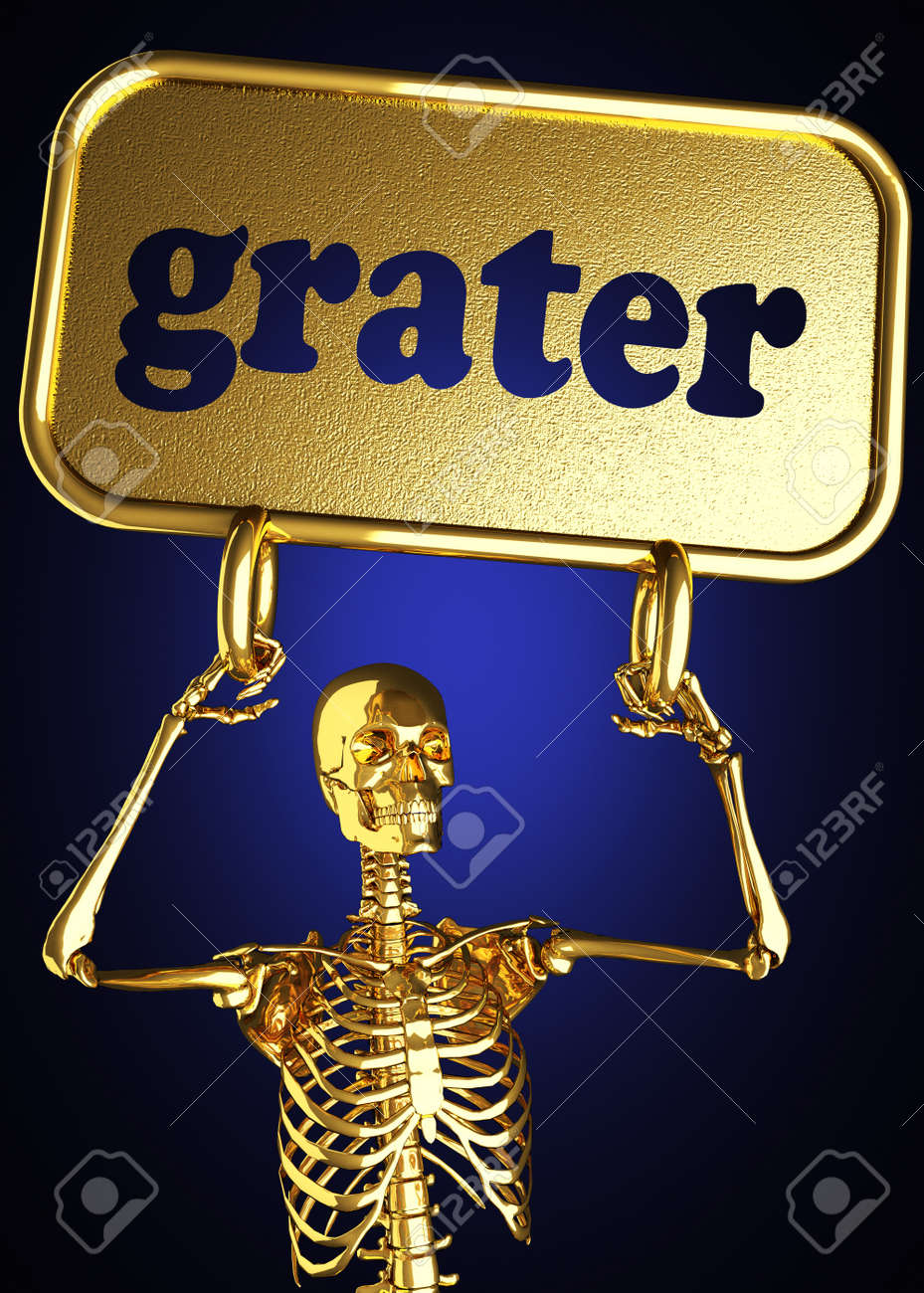 Golden skeleton holding the sign made in 3D Stock Photo - 13391638