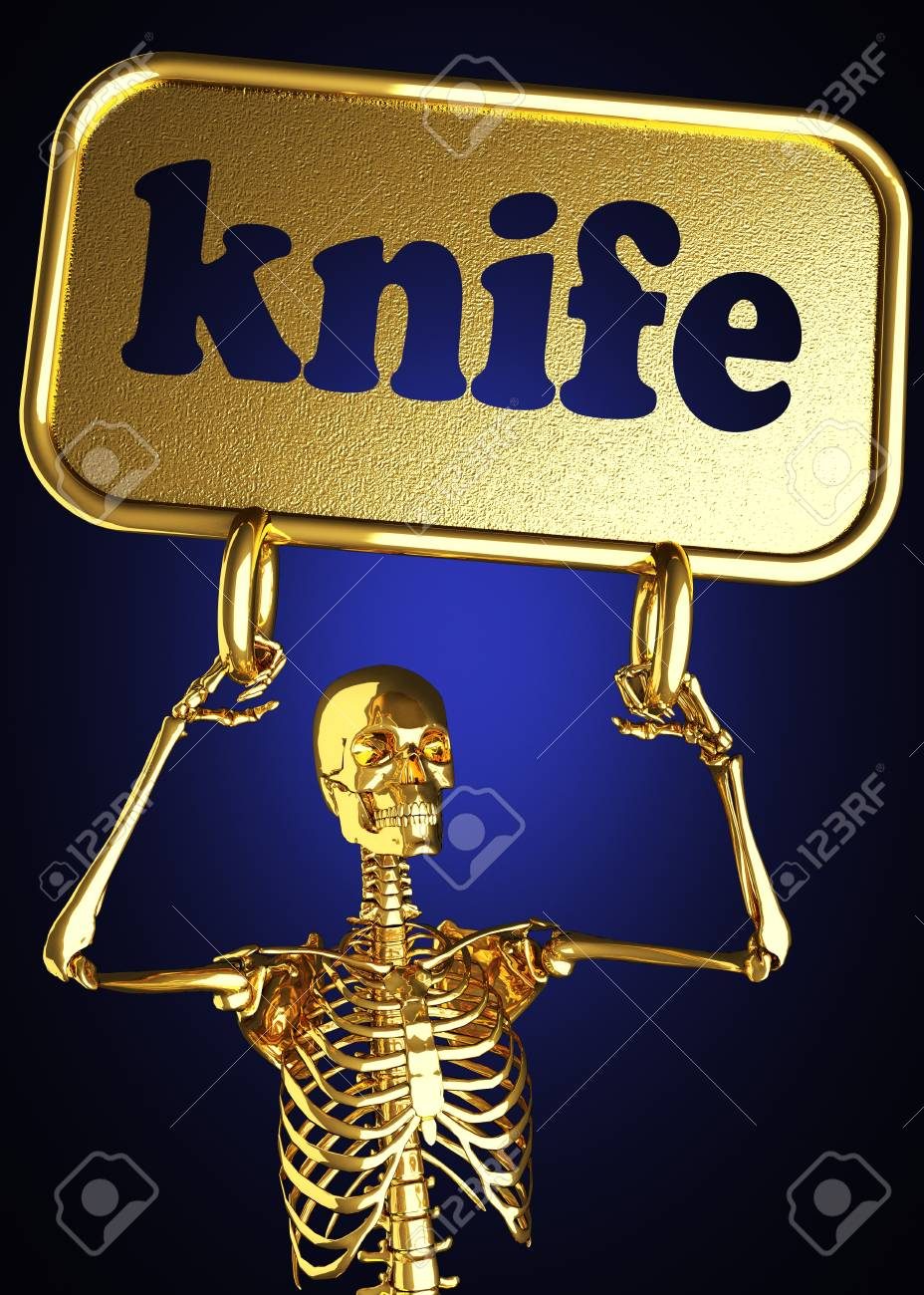 Golden skeleton holding the sign made in 3D Stock Photo - 13442854