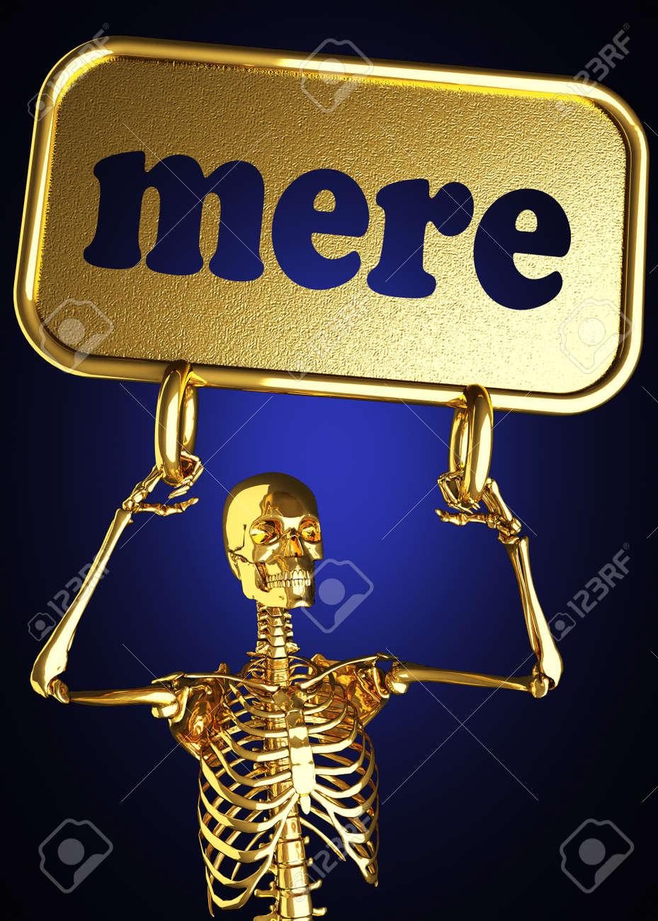 Golden skeleton holding the sign made in 3D - 13444015
