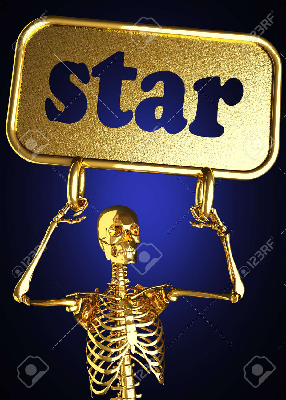Golden skeleton holding the sign made in 3D Stock Photo - 13473457