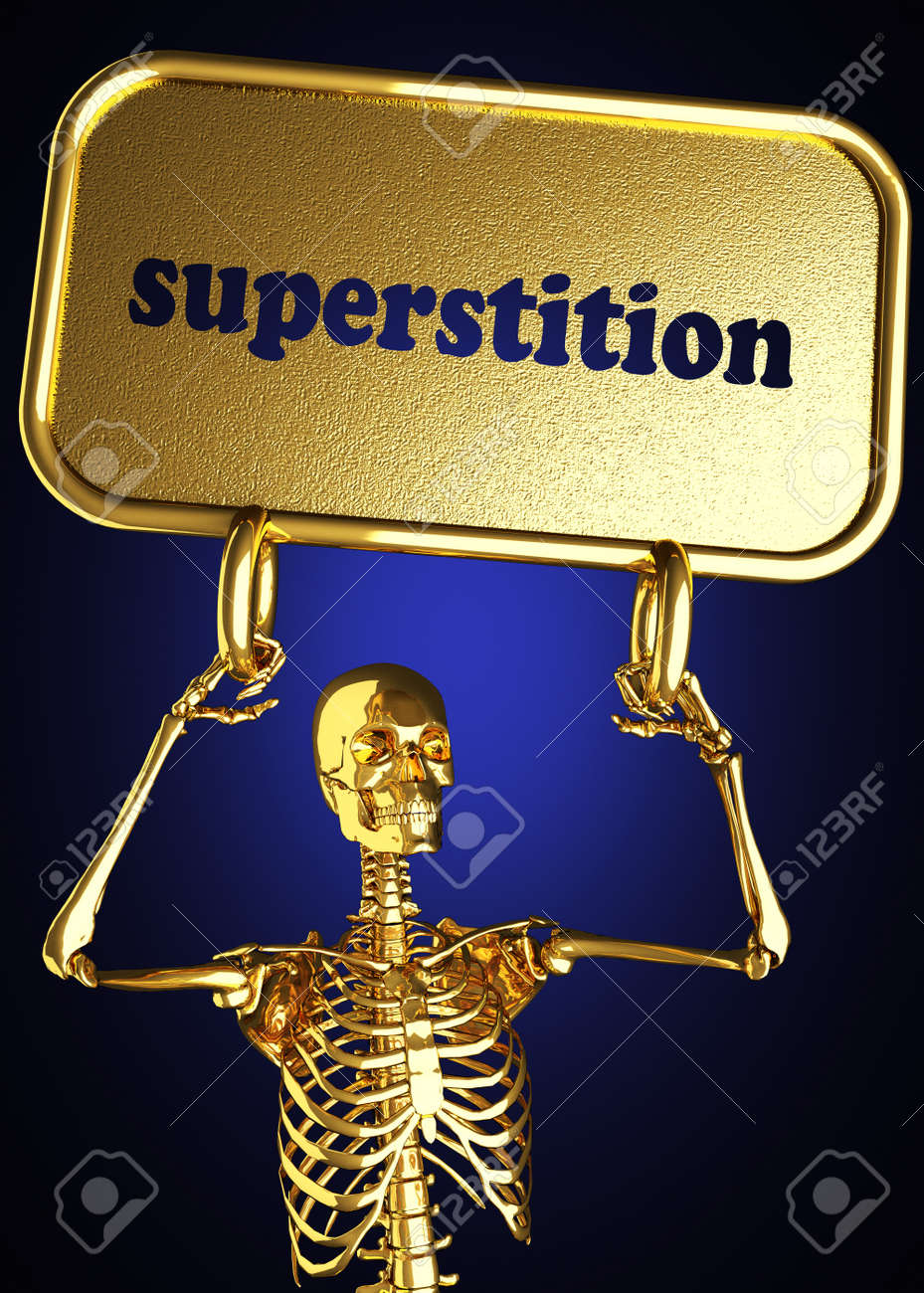 Golden skeleton holding the sign made in 3D Stock Photo - 13482835