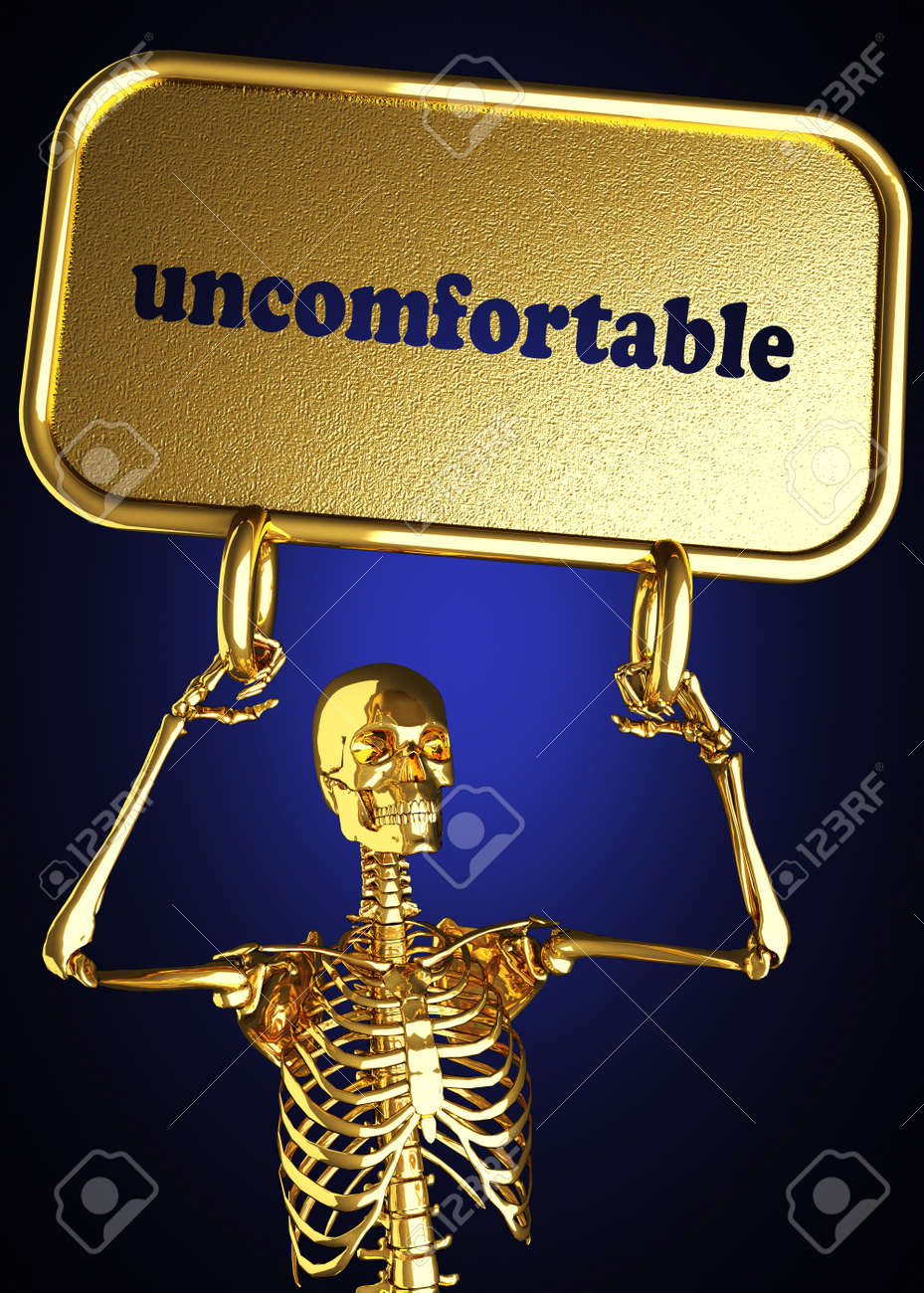 Golden skeleton holding the sign made in 3D Stock Photo - 13477832