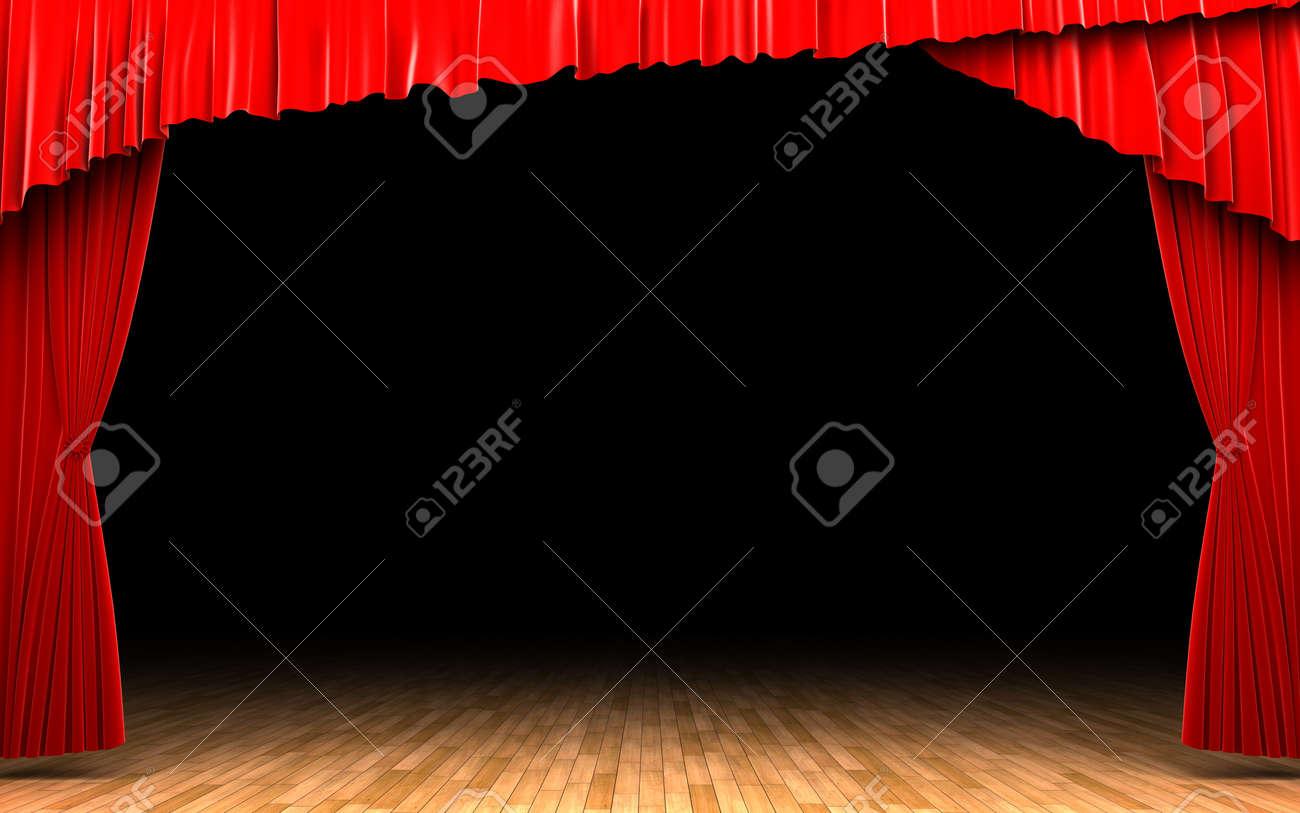 Red velvet curtain opening scene Stock Photo - 13975141