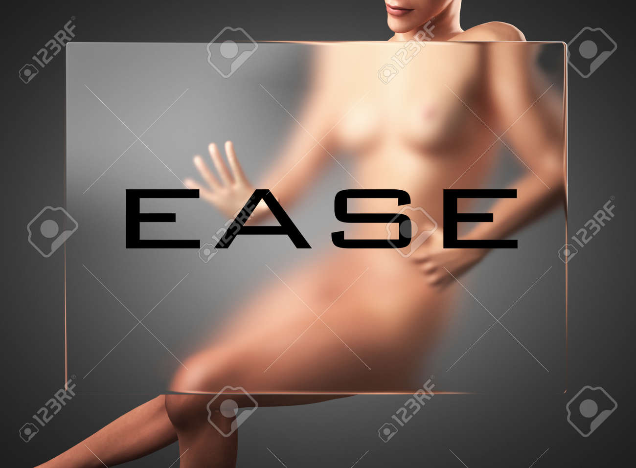 word on glass billboard with woman Stock Photo - 21628772