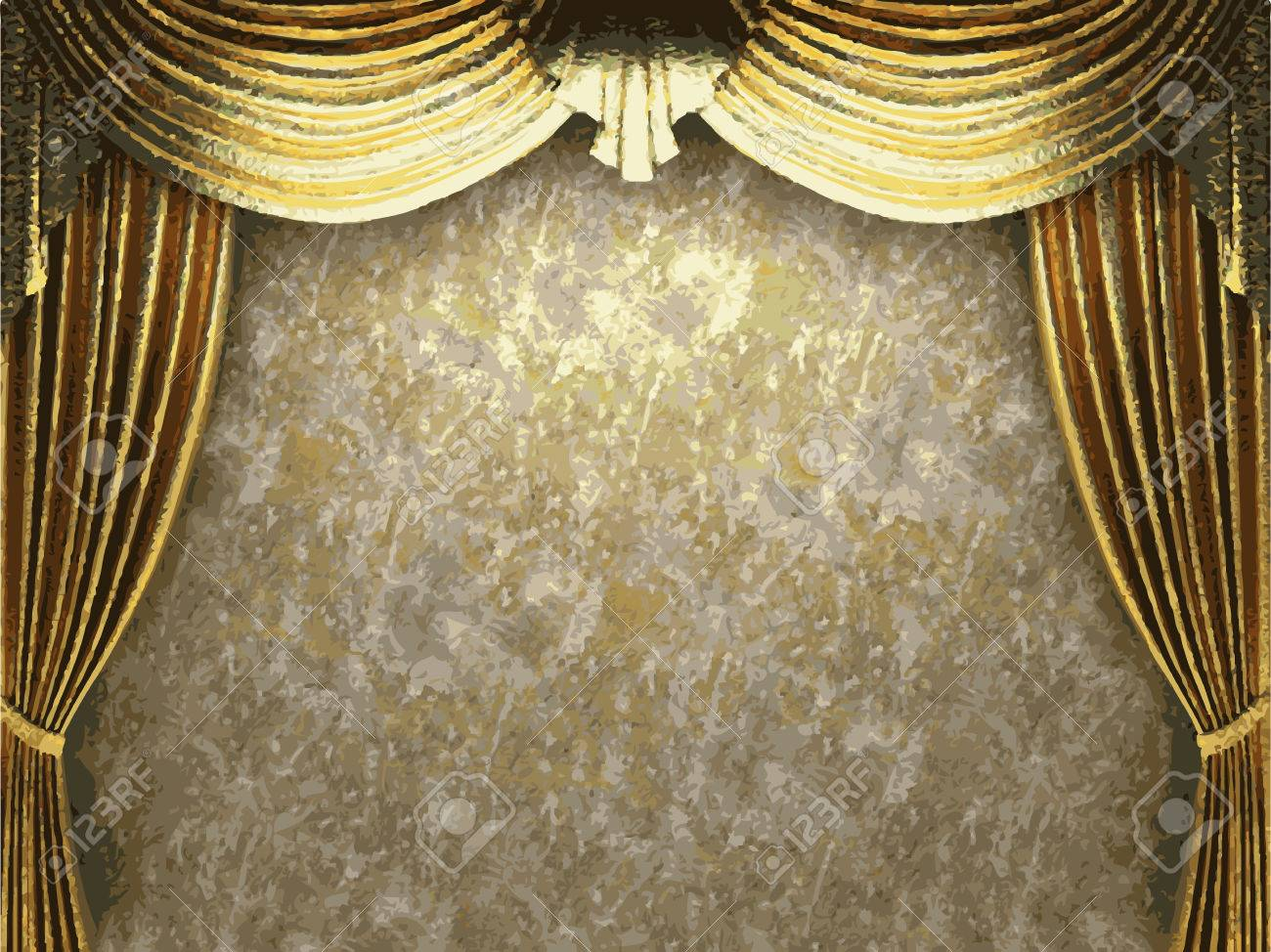 Vector Golden Curtain Background Royalty Free Cliparts Vectors And