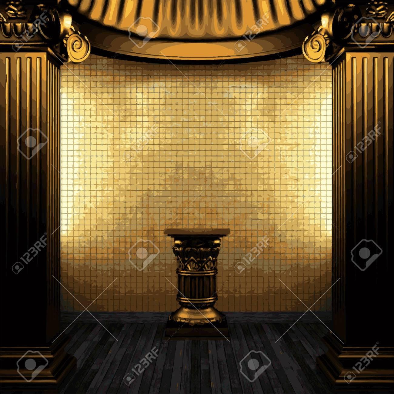 Vektor brons pelare, sockel och kakel vägg royalty fri clipart ...