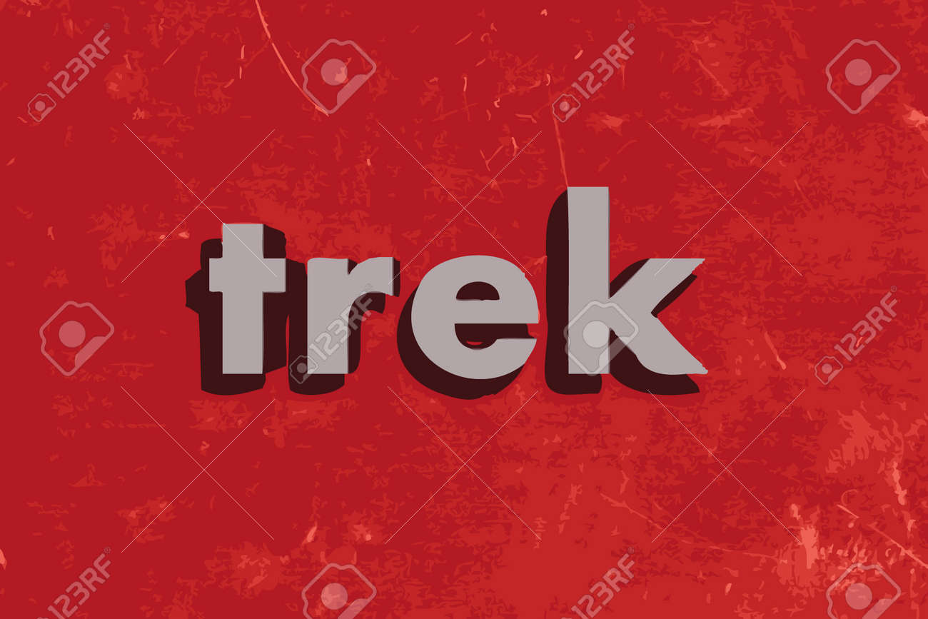 trek vector word on red concrete wall royalty free cliparts vectors
