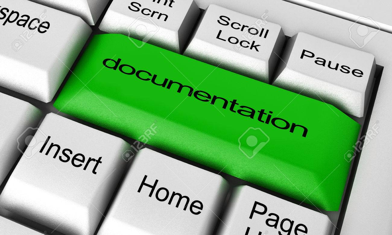 documentation word on keyboard button stock photo picture and