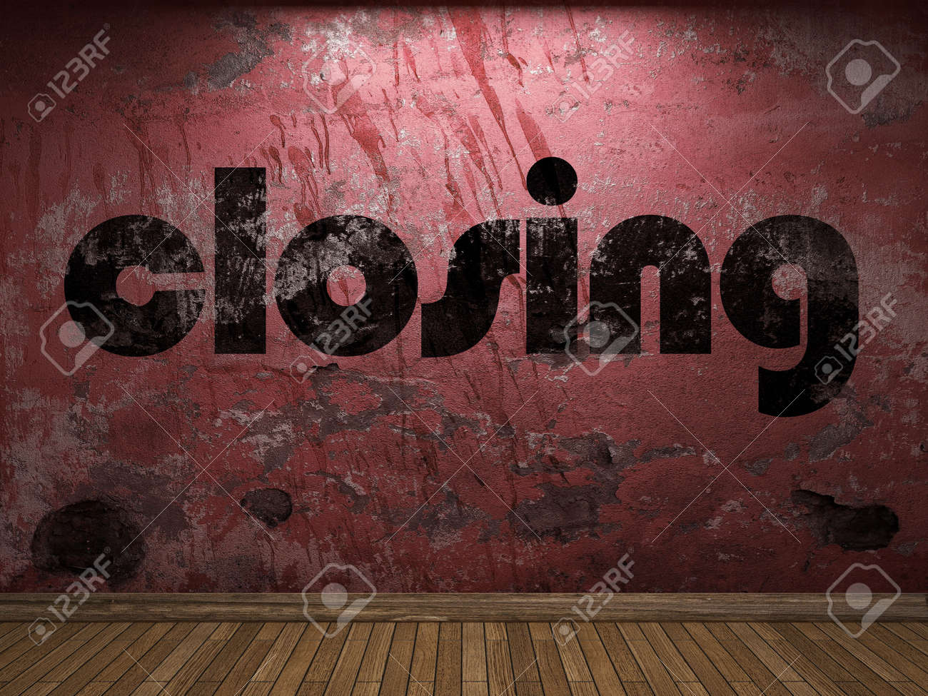 closing word on red wall - 56189759