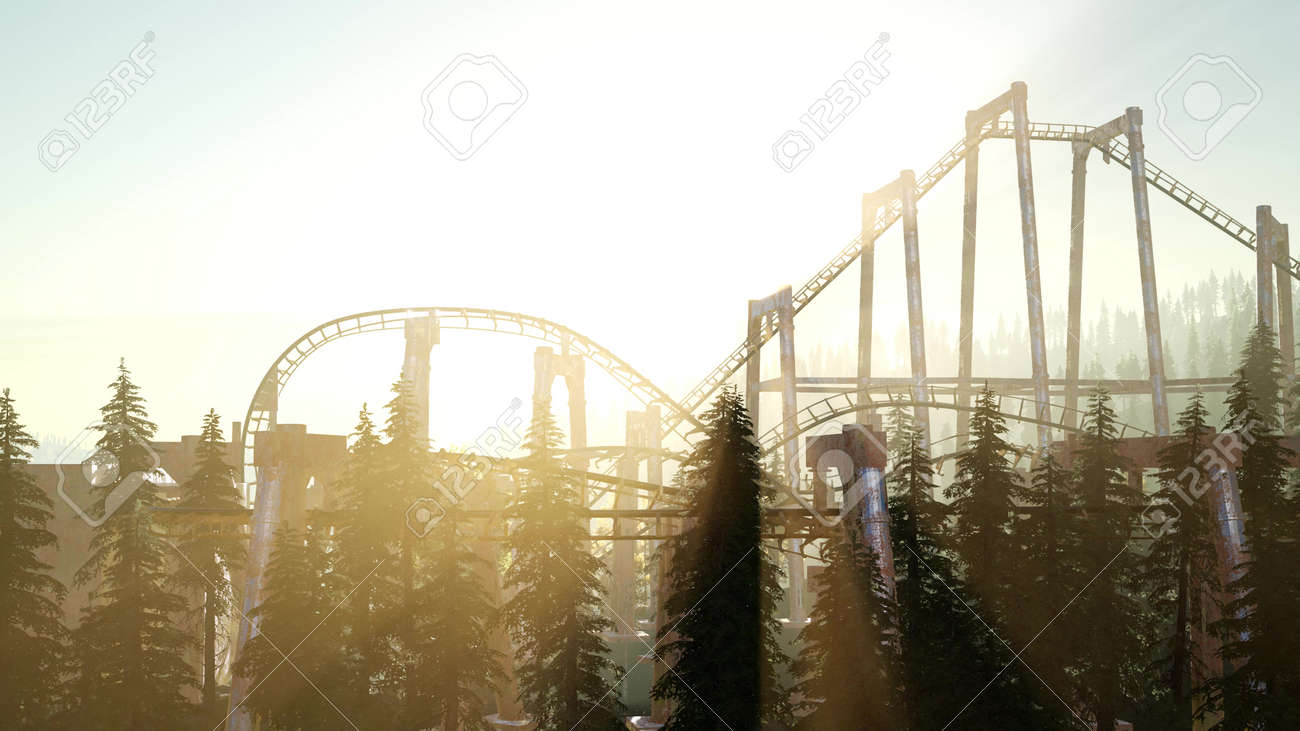 old roller coaster at sunset in forest - 126650182