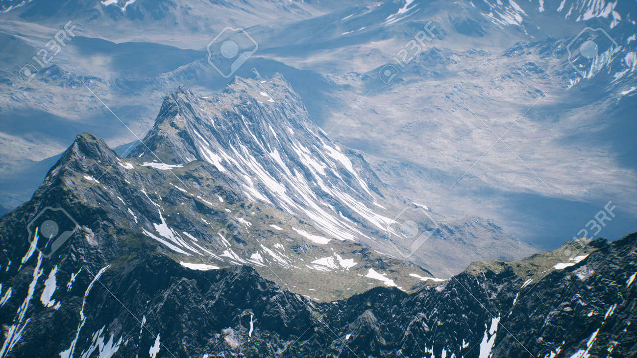 Aerial View Landscape of Mountais with Snow covered - 157844535
