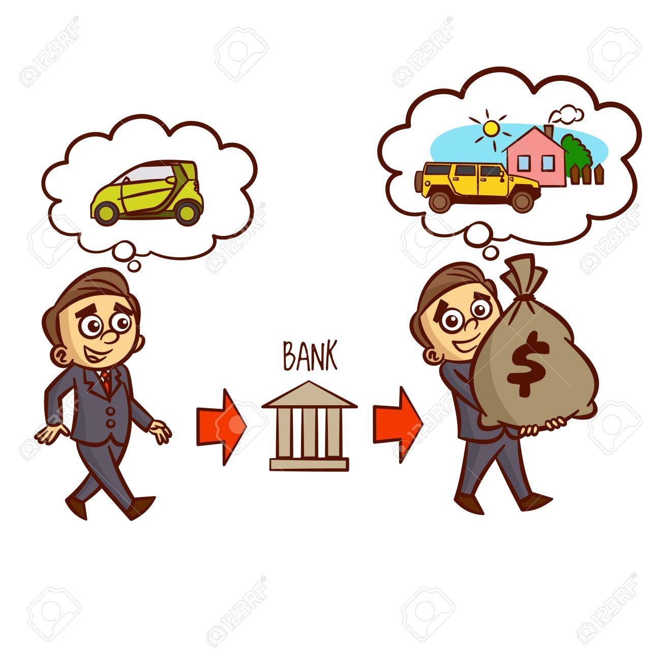 businessman gets a bank loan on the car mortgage clipart royalty rh 123rf com student loan clip art bank loan clipart