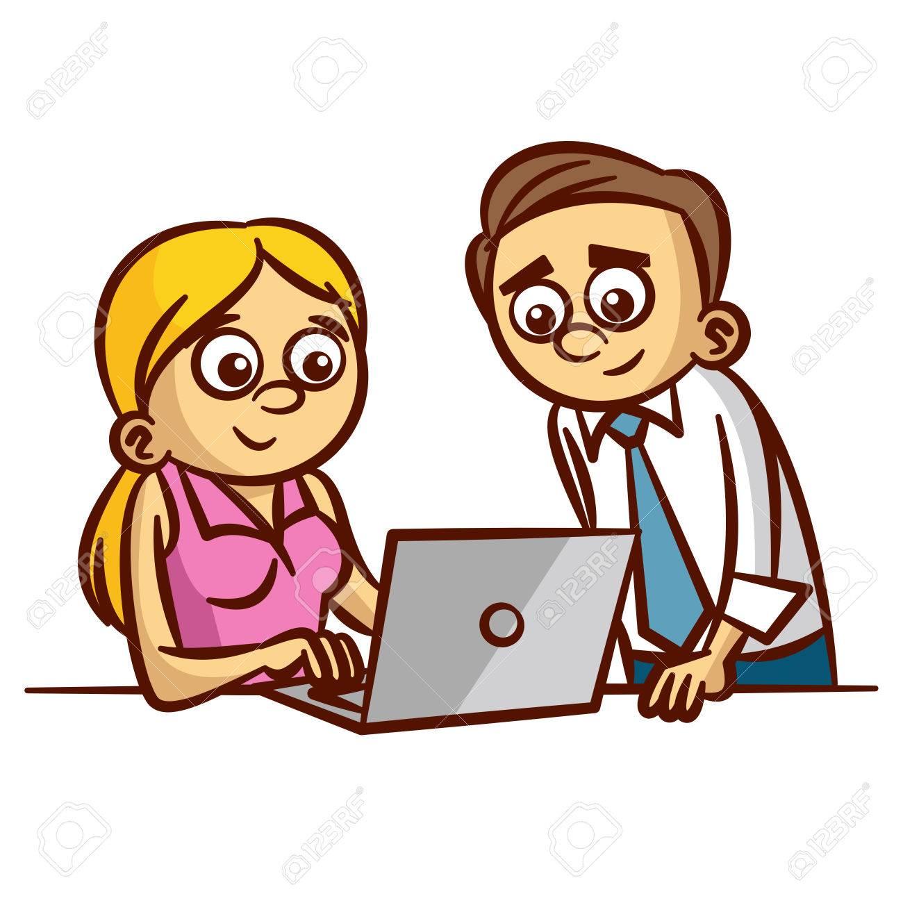 Employes De Bureau De Travail Sur Ordinateur Clipart Clip Art Libres De Droits Vecteurs Et Illustration Image 61250318