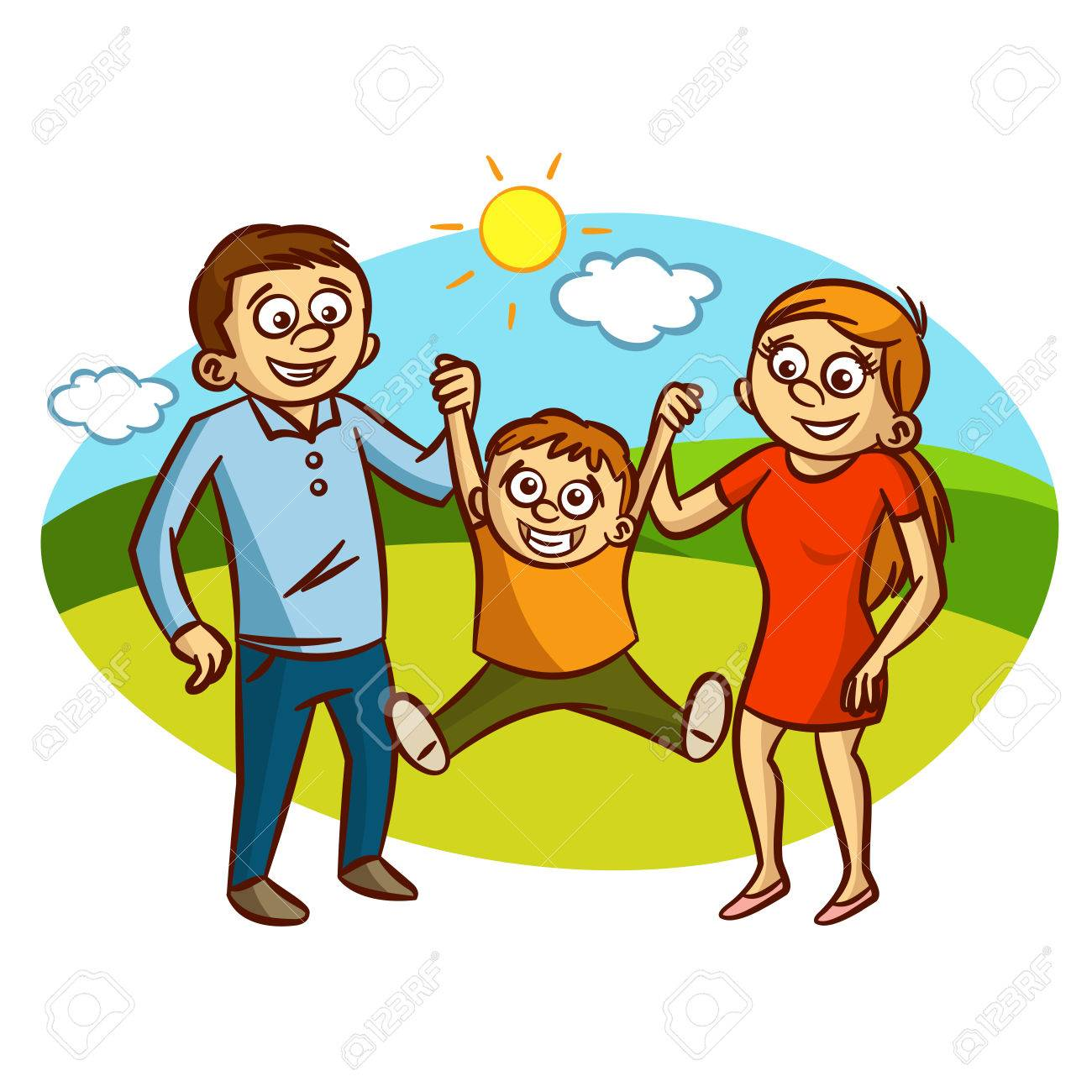 Happy Family Walking Outdoors Clipart Royalty Free Cliparts