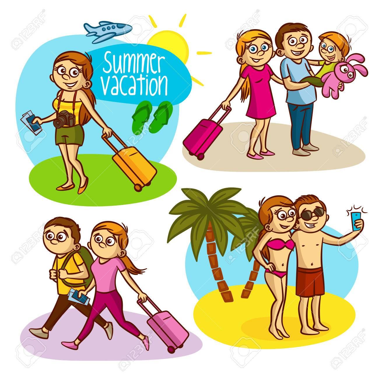 Summer Vacation Travel Family Clipart Stock Vector