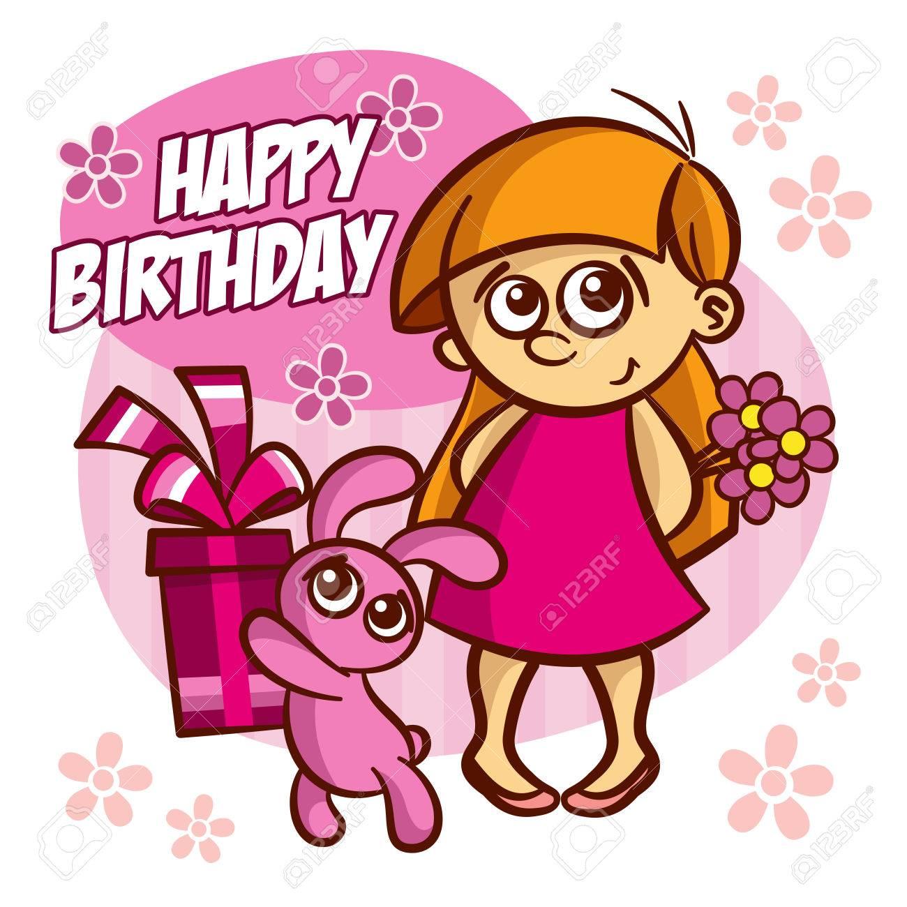 Happy birthday card girl and bunny vector clipart royalty free happy birthday card girl and bunny vector clipart stock vector 66581935 bookmarktalkfo Choice Image